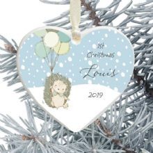 1st Christmas Ceramic Heart Tree Decoration - Hedgehog and Balloons Design